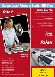 Obrázek Fólie Folex - folie BG 72 pro barevné laserové tiskárny / 50 ks