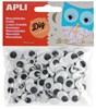 Obrázek Pohyblivé očii APLI oválná / černá / samolepicí / 100ks